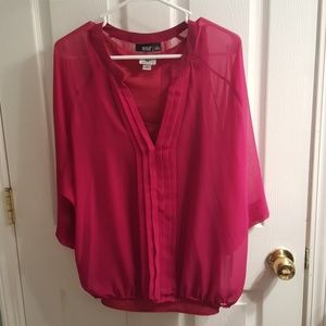 3/4 Sleeve Sheer Maroon Dress Blouse with tank